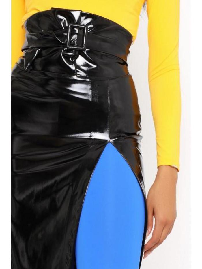 Amnesia MAZARO sukňa lakovaná s opaskom